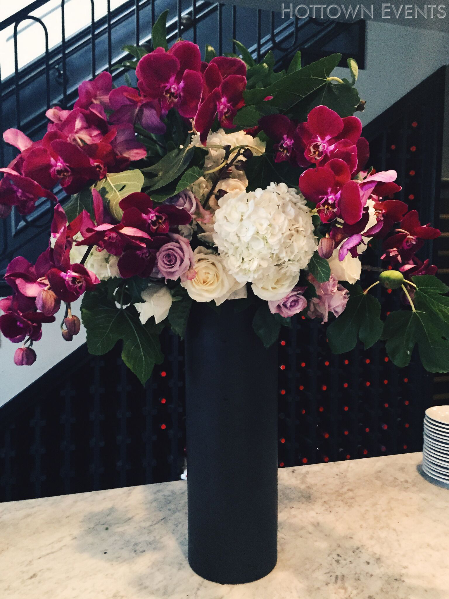 <h5>Large Orchid, Roses & Peonies Bar top arrangement</h5>